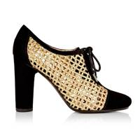Gold Lattice Lace-Up Heels