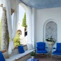 Blue and White Covered Patio