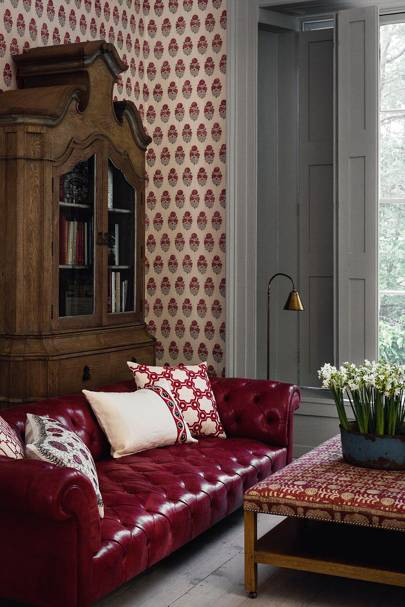 Fabric living room wallpaper