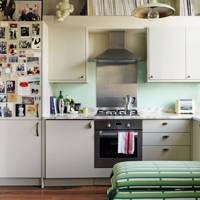 Small White Open Plan Flat Kitchen