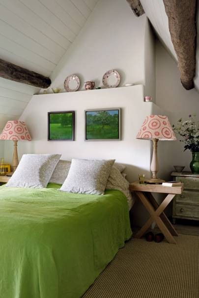 White Bedroom with Wooden Beams