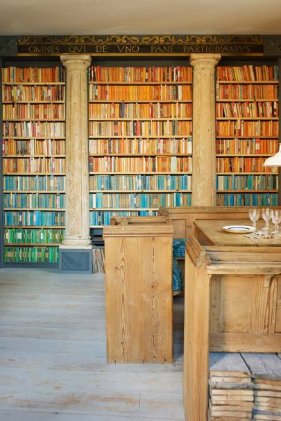 Wooden Bookshelves with Penguin Books