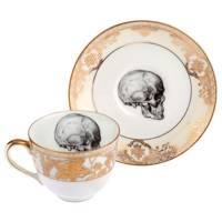 Upcycled Skull Design Vintage Gold Teacup And Saucer