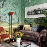 Luxurious Small Living Room Hand-Painted Wallpaper | Living Room Ideas
