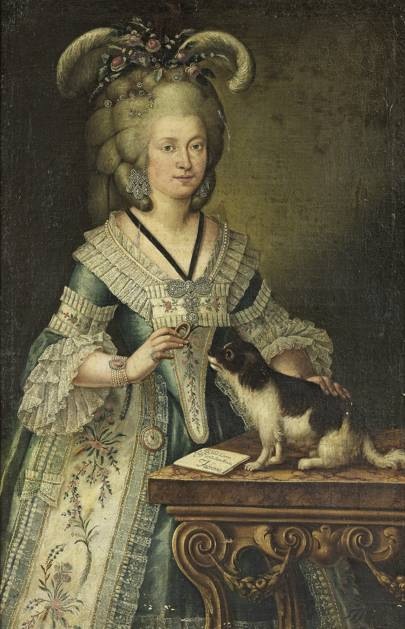 Portrait of a lady traditionally identified as Camilla Romca Morichi with her dog