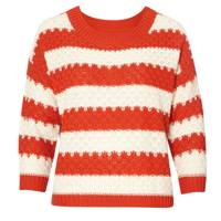 Colour Block Stripe Red & White Jumper
