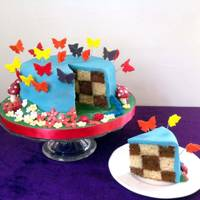 Alice in Wonderland Chequered Cake