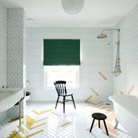 Mismatched Herringbone Tiled Wet Room