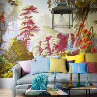 Pastel living room with hand-painted de Gournay wallpaper