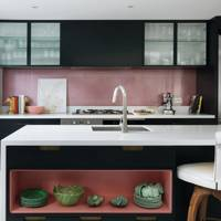 Small Pink & Black Kitchen