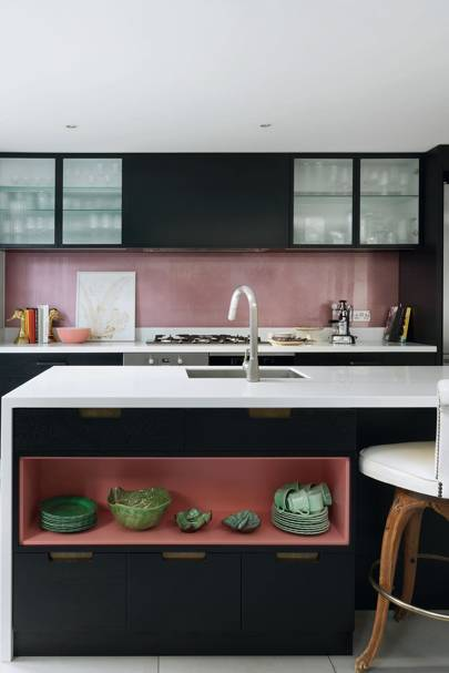 Small Pink Custom-Made Kitchen