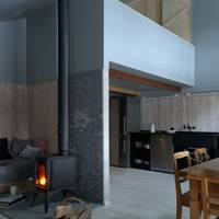 Swiss chalet wood-burning stove