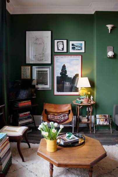 Small Green Sitting Room with Framed Prints