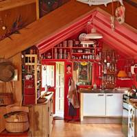 Red Kitchen in Cabin