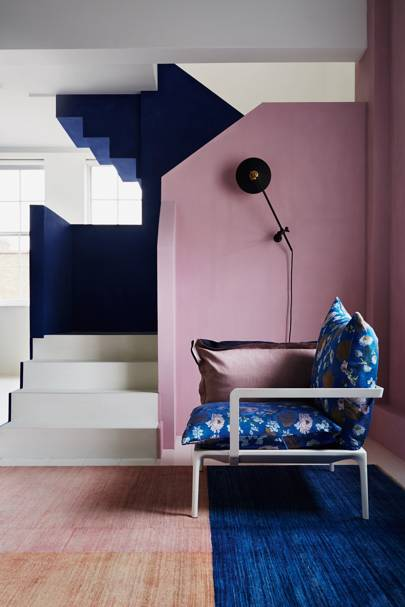 Block Colour Pink Blue Painted Stairs