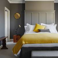 Grey and yellow bedroom decorating idea