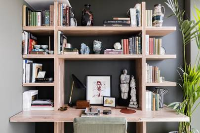 Corner Workspace with Bookcase