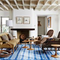 Blue & Yellow with Woven Furniture - Living Room Ideas