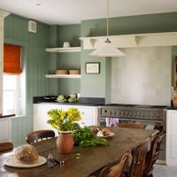 Farmhouse Kitchen with Wooden Dining Table