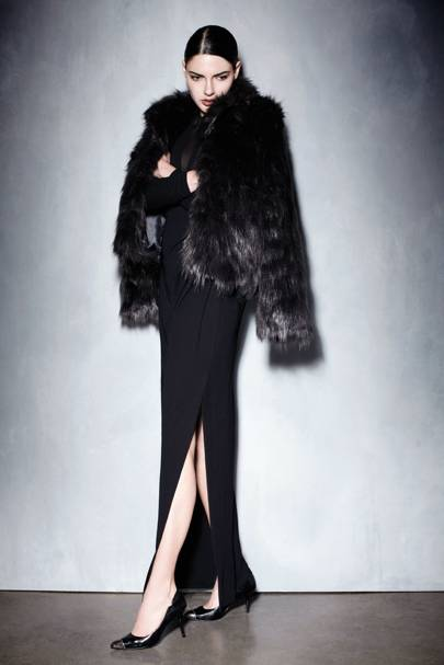 Black Mesh Front Long-Sleeve Maxi Dress