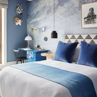 Velvet Cushions in Blue Bedroom