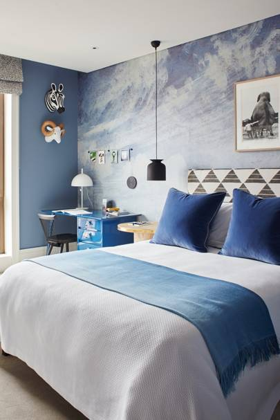 Blue Bedroom with Cloud Mural