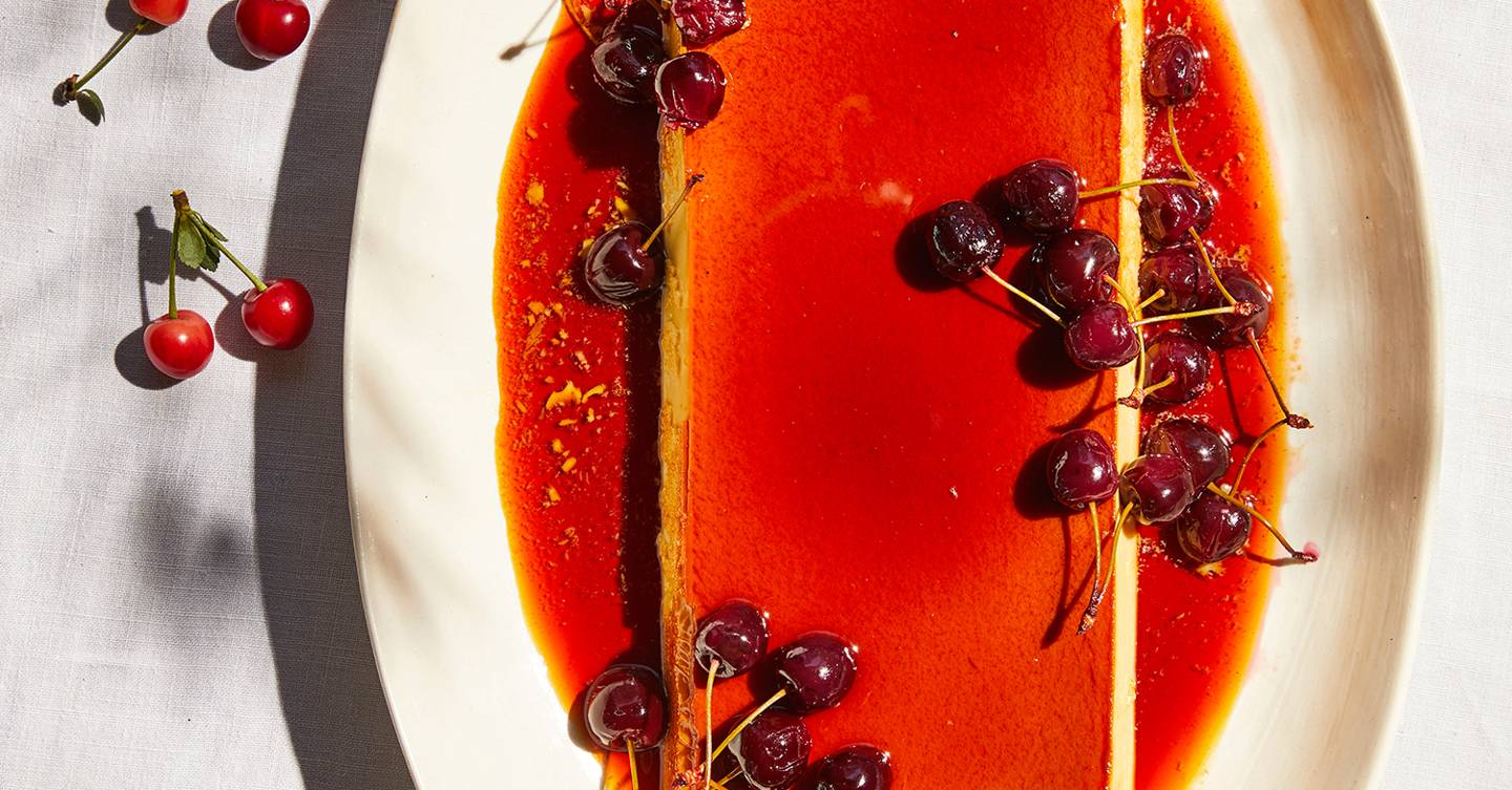 Flan with poached cherries