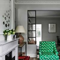 Green Armchair in Grey Living Room