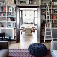 Living room with bookcase wall