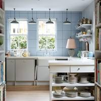 Small Blue Kitchen With Open Shelves