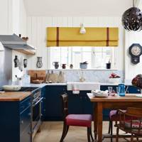 Open-Plan Kitchen with Blue Units