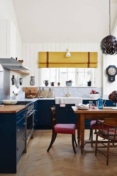 L-shaped Blue Kitchen