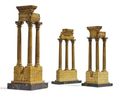 Lot 45: A Group of Three Italian Grand Tour Marble Models of Architectural Ruins, mid-19th century (estimate £4,000-£6,000)