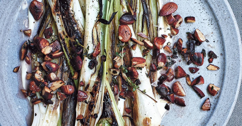 Charred leeks with almonds