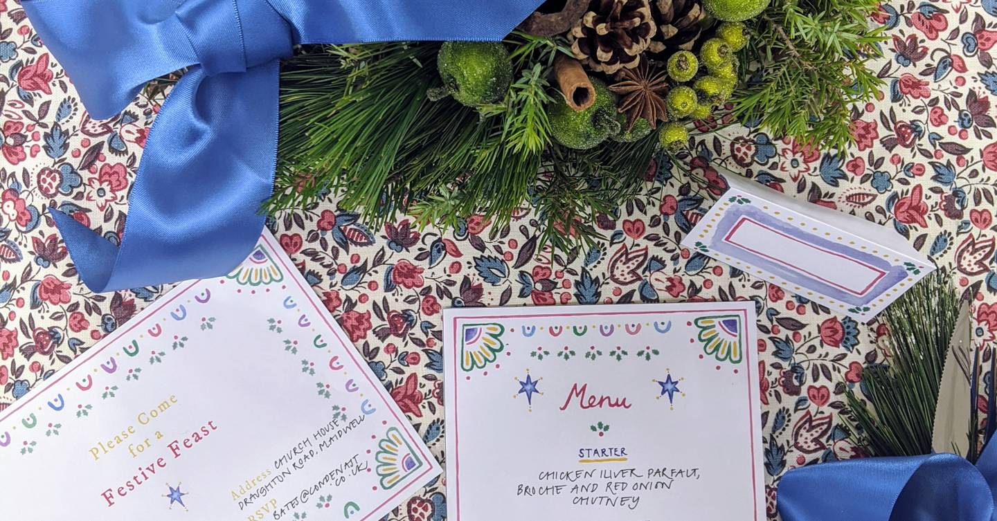 A printable festive party invitation, menu and name card set