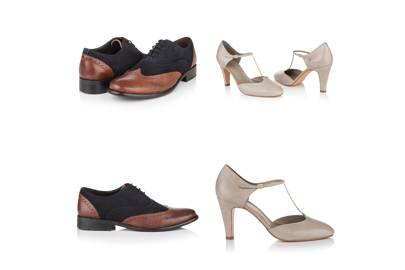 July 30: Elliot Navy Tan Brogues and Evie Antique Olive T-bar Shoes, £135 or Evie is £149, by agnes & norman