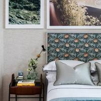 Modern Bedroom with Patterned Headboard