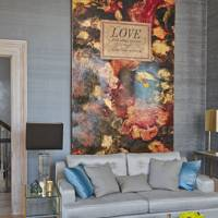 Harlan Miller Painting & Grey Silk Wallpaper