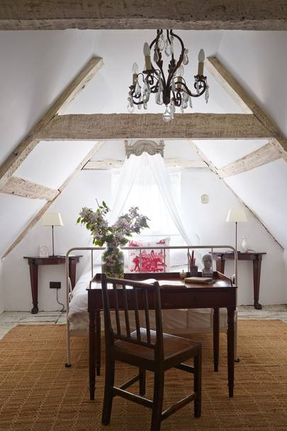 Attic Bedroom with Canopy Bed
