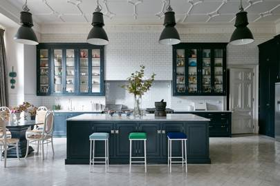 White Kitchen with Blue Units