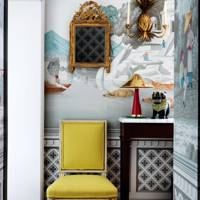 Grey Wallpapered Hallway with Gilt Accessories | Hallways