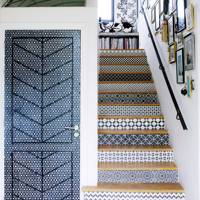 Patterned Moroccan Tile Effect Staircase - Hallway Design Ideas