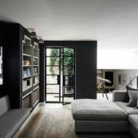 TV Room with Black Walls