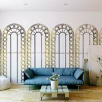 Gold and white window motif