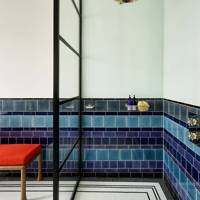 Walk In Shower with Blue & White Tiles