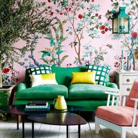 Living Room Ideas: Pink Wallpaper Green Sofa