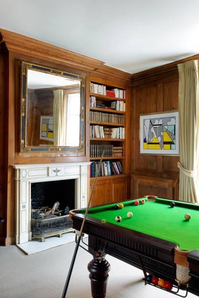 Large wood panelled bookcase