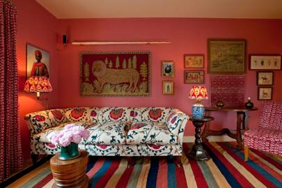 Eclectic hot pink living room