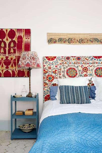 DIY Patterned Suzani Fabric Headboard