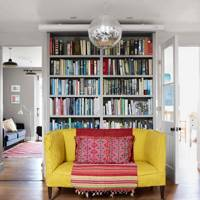 A Bookcase and statement sofa